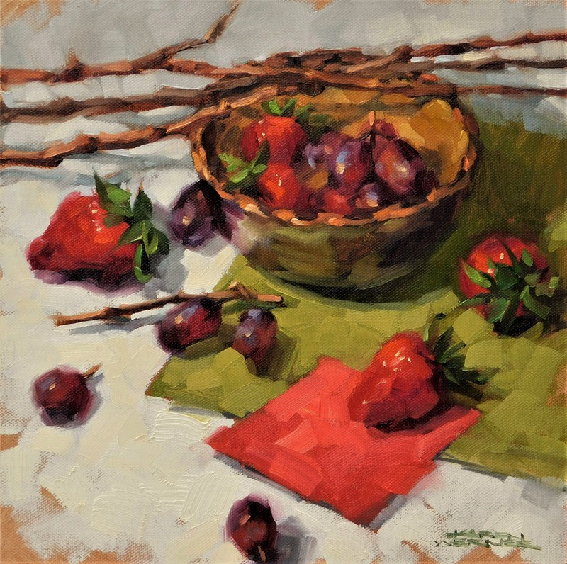 """""""Berries & Branches"""" original fine art by Karen Werner"""