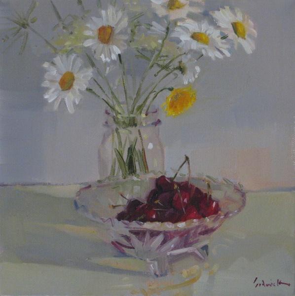 """Cherries and Wildflowers"" original fine art by Sarah Sedwick"