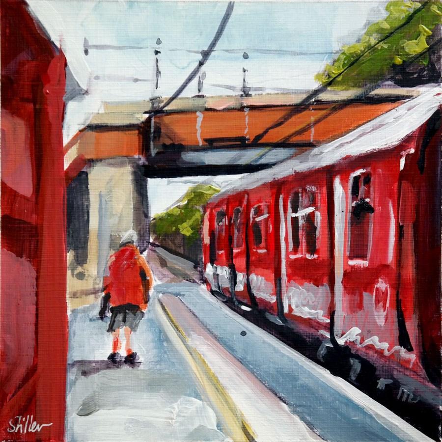 """2012 Red Train Platform Ensemble"" original fine art by Dietmar Stiller"