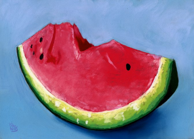"""""""watermelon and instructional video"""" original fine art by Ria Hills"""