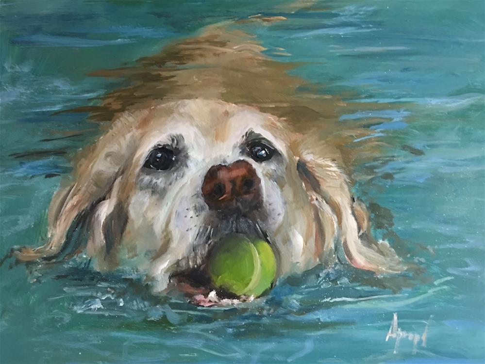 """""""My Tennis Ball"""" original fine art by Anne Marie Propst"""