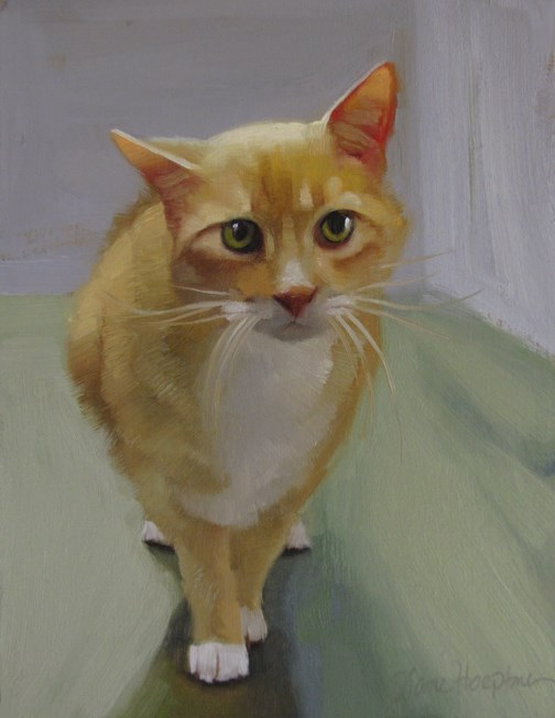 """""""Cautious painting of an orange cat"""" original fine art by Diane Hoeptner"""