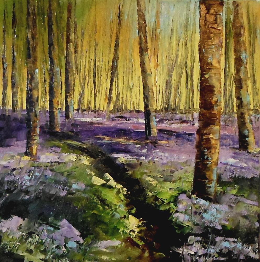 """12 x 12 inch oil Mysterious Forest"" original fine art by Linda Yurgensen"