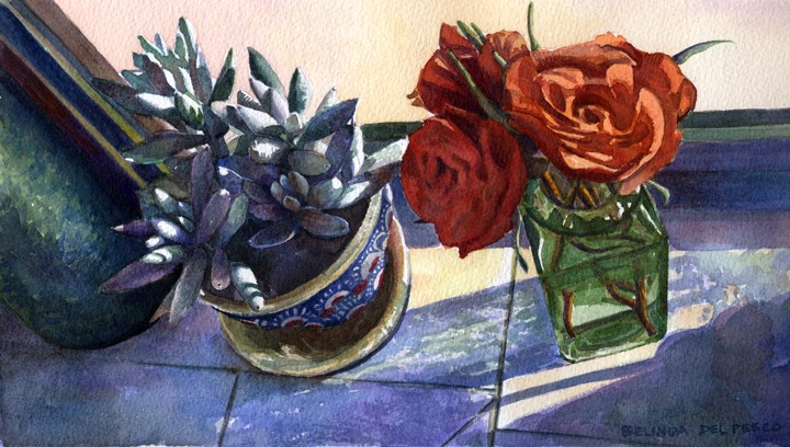 """""""Floral Watercolor Still Life – and why we paint what we paint"""" original fine art by Belinda Del Pesco"""