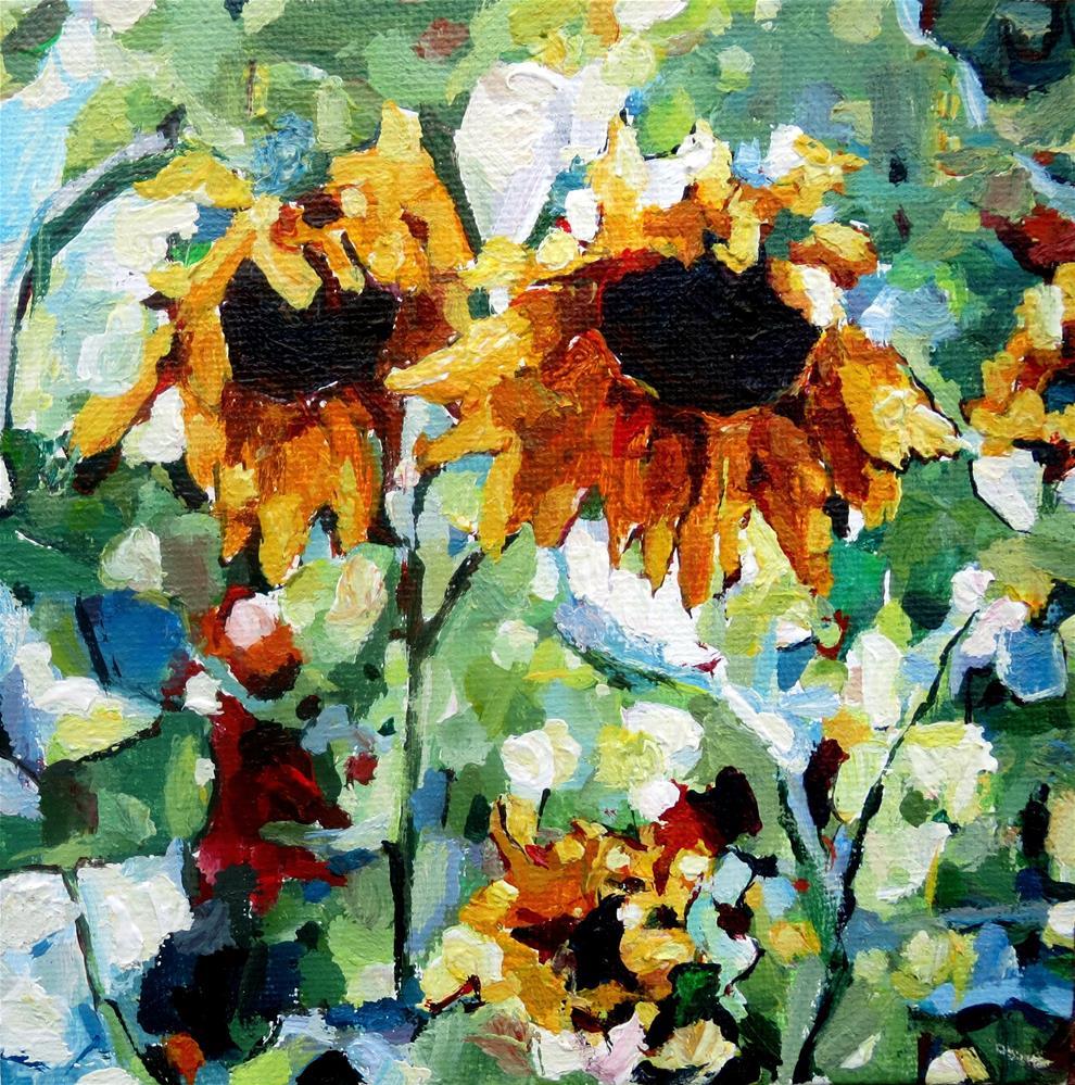 """Sunflower Sisters"" original fine art by Nava Judith"