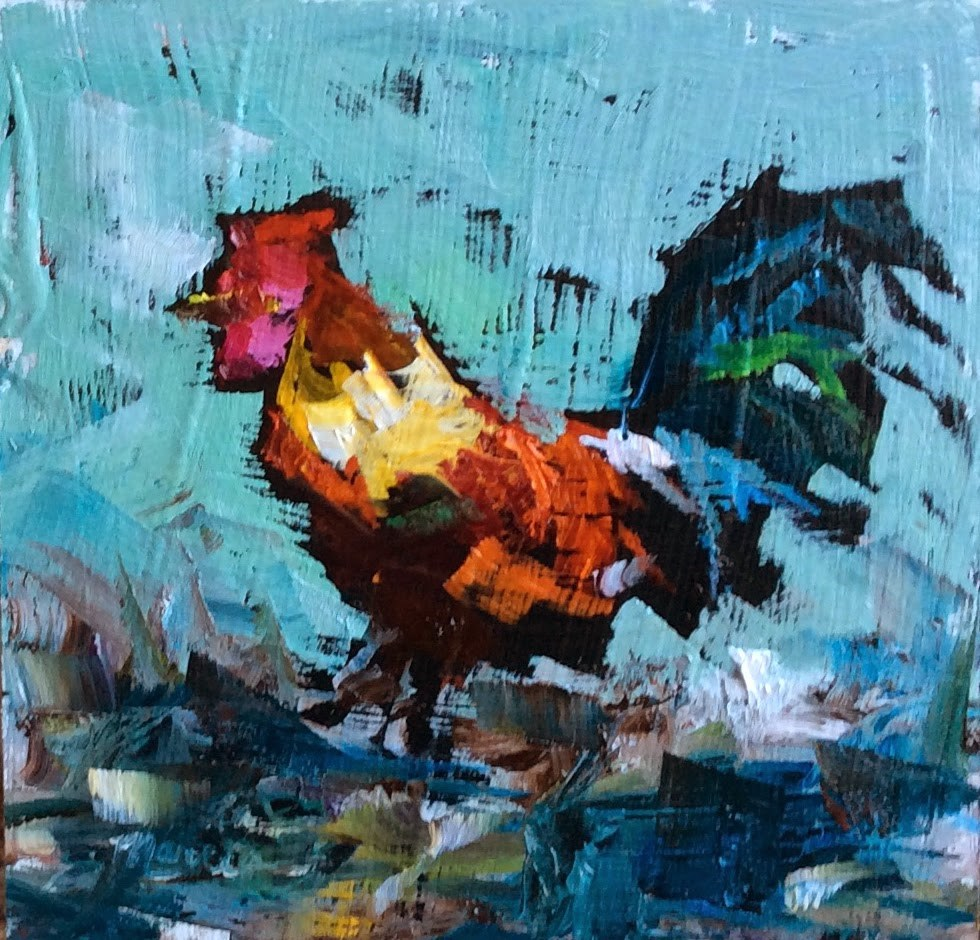 """""""Just a Rooster in Paradise"""" original fine art by Marcia Hodges"""