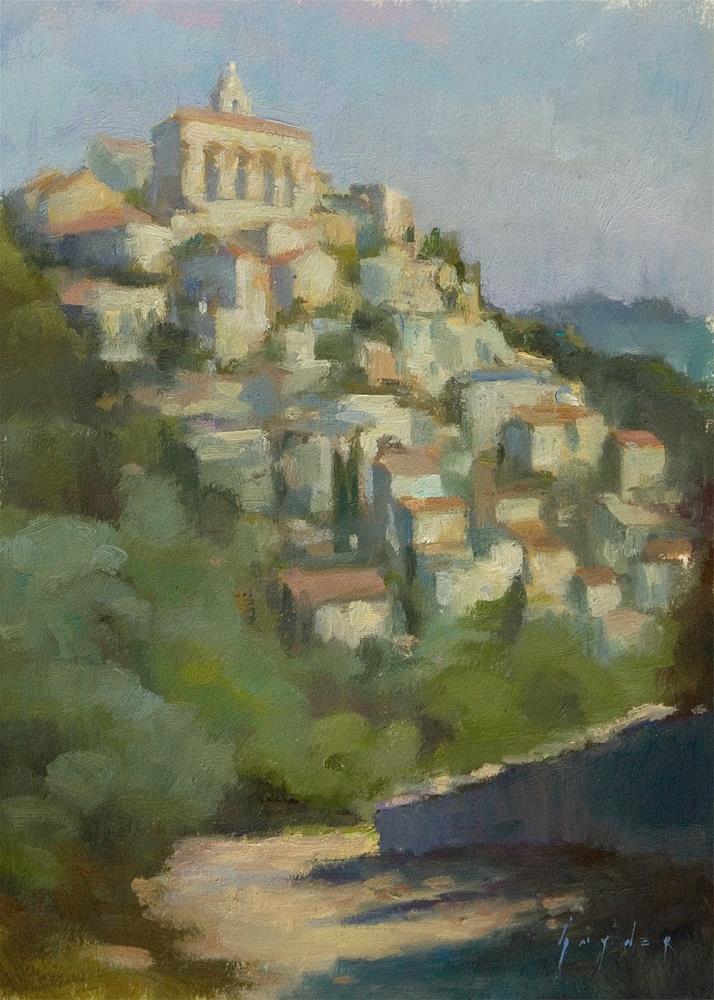 """""""View of Gordes - Hill Top Town"""" original fine art by Julie Snyder"""