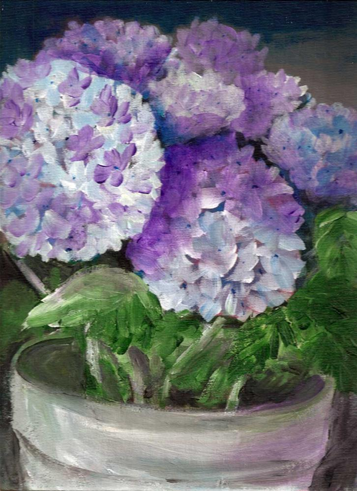 """""""9x12 Hydrangias in a pot, blues and purples, Acrylic on Canvas Board"""" original fine art by Penny Lee StewArt"""