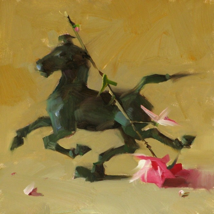 """Horse Stepping on a Swallow"" original fine art by Qiang Huang"