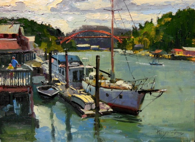 """""""LaConner Boats  plein air, marine scape, oil painting by Robin Weiss"""" original fine art by Robin Weiss"""