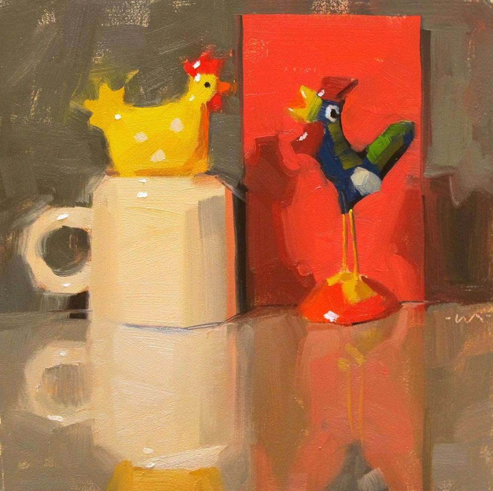 """""""Yearning Chicken Love"""" original fine art by Carol Marine"""