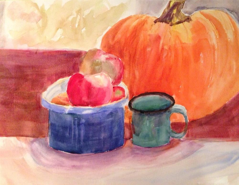 """Still Life with Pumpkin"" original fine art by Maria Peagler"