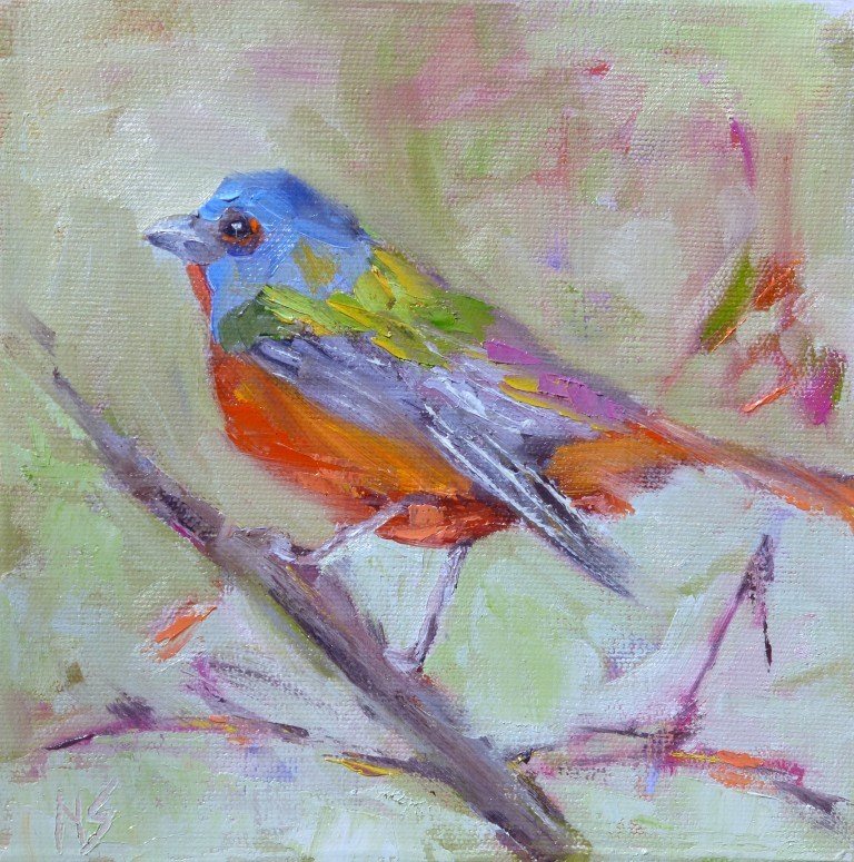"""Painted Bunting 15010 Sold"" original fine art by Nancy Standlee"
