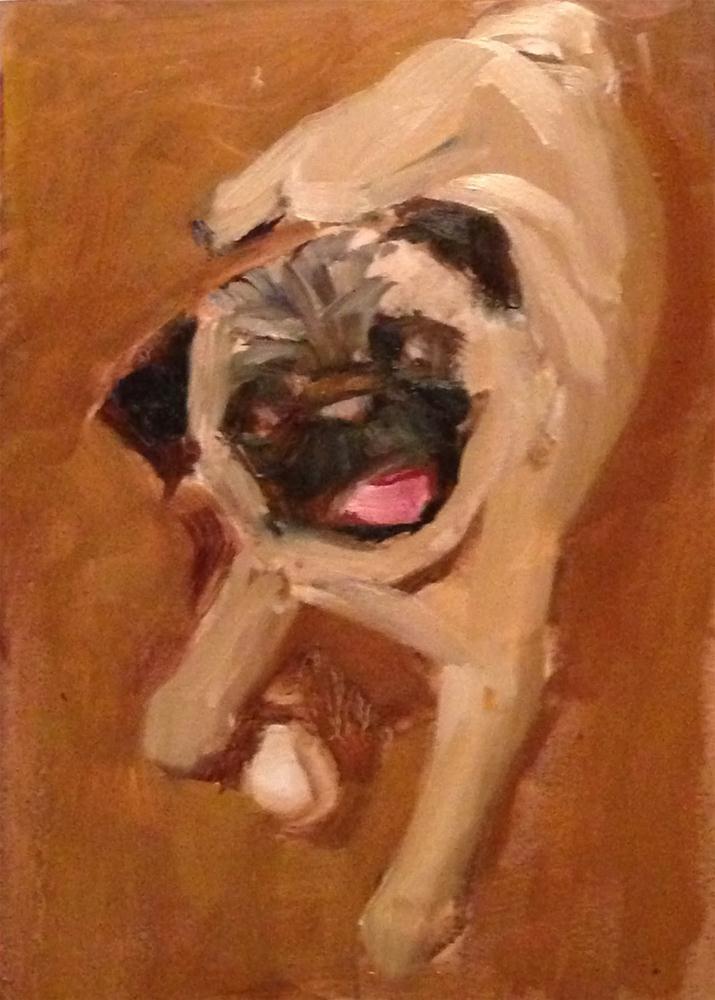 """Pug Time, 5x7 Oil Painting by Kelley MacDonald"" original fine art by Kelley MacDonald"