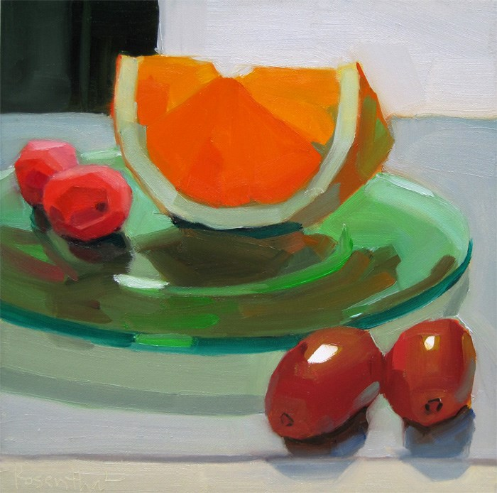 """""""Green Plate and Fruit"""" original fine art by Robin Rosenthal"""