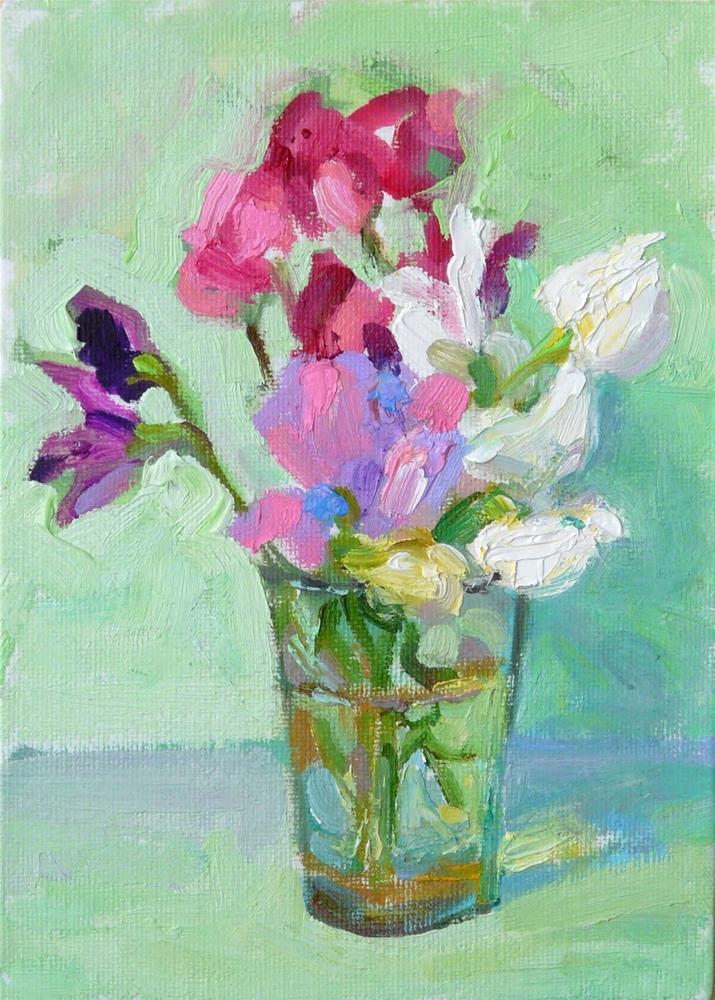 """Sweetpeas in a glass,still life,oil on canvas,price$175"" original fine art by Joy Olney"