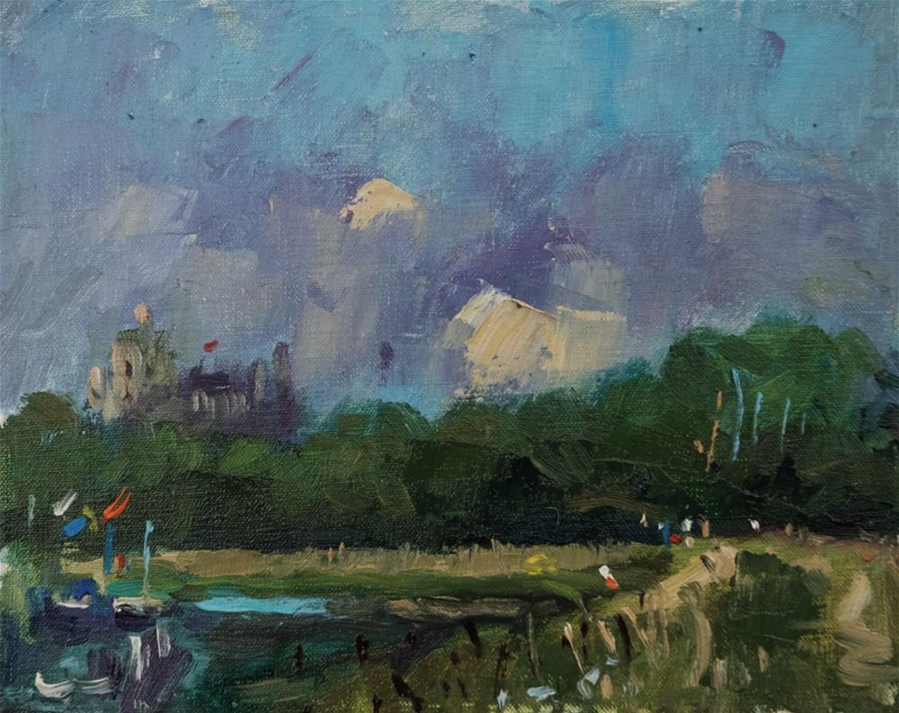 """""""Arundel Castle with Abstract Clouds"""" original fine art by Andre Pallat"""
