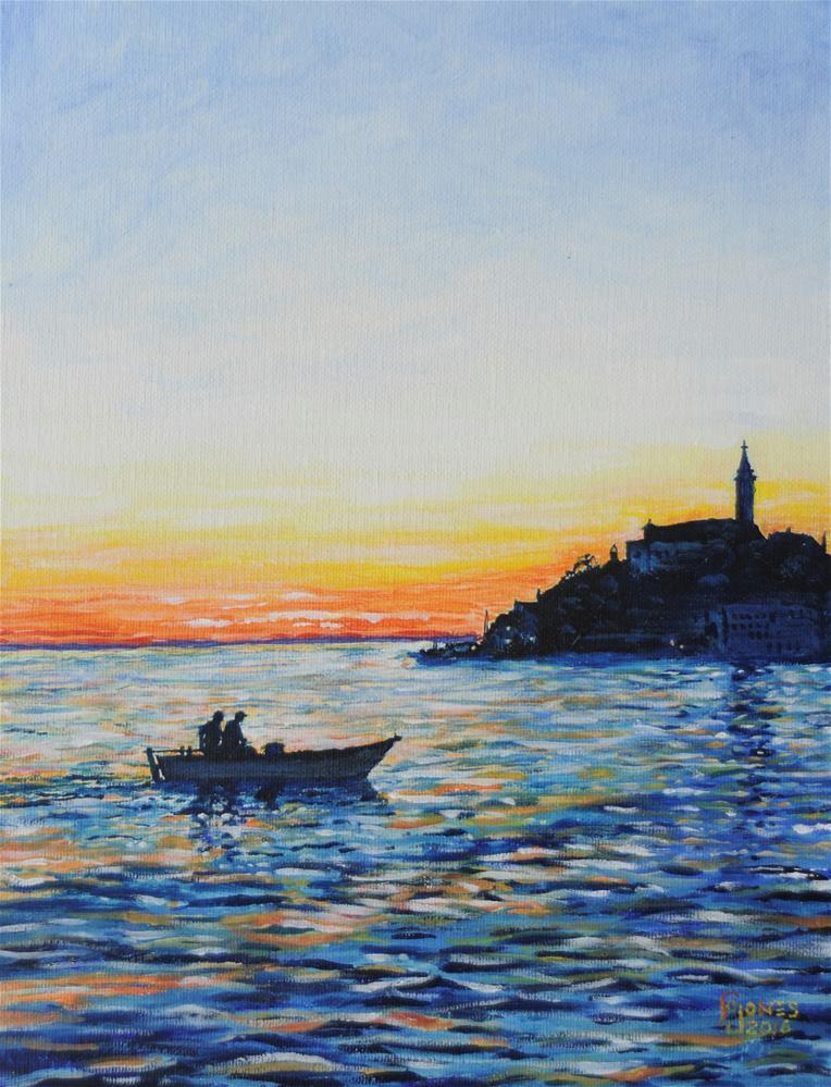 """""""Two Fishermen"""" original fine art by Fred Jones"""