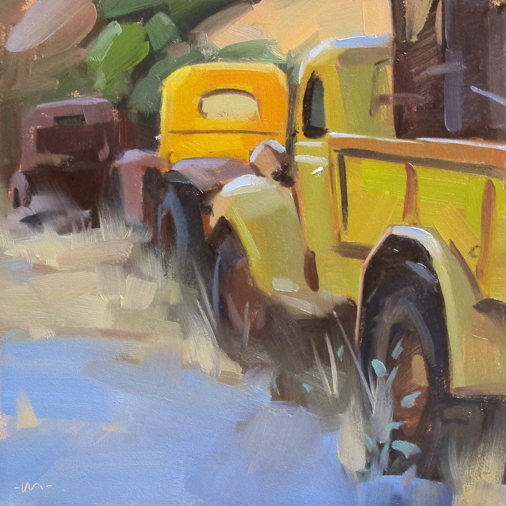 """Parked in a Row"" original fine art by Carol Marine"