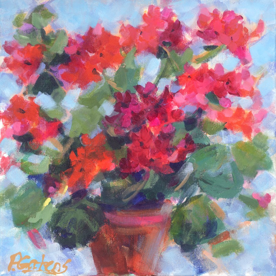 """Geranium Jingle"" original fine art by Pamela Gatens"