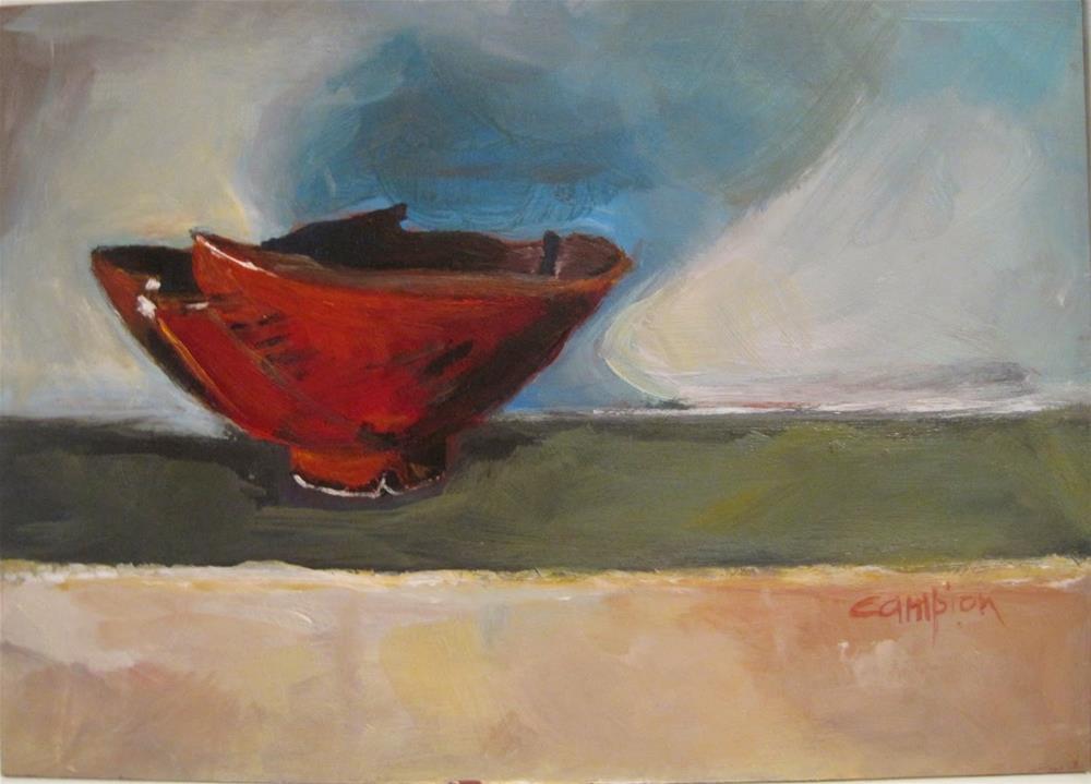 """485 Empty Red Bowl"" original fine art by Diane Campion"