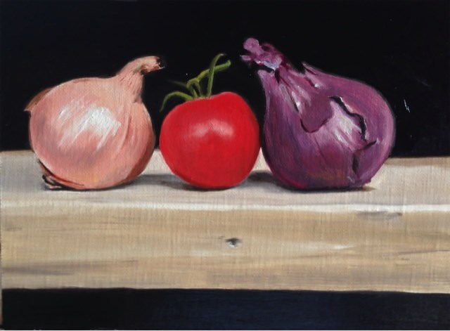 """""""Onions and Tomato"""" original fine art by James Coates"""