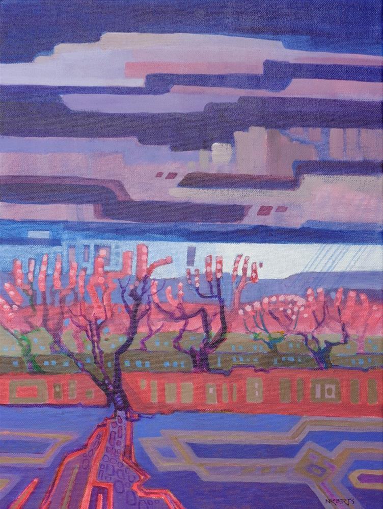 """Orchard Storm"" original fine art by Nancy Roberts"