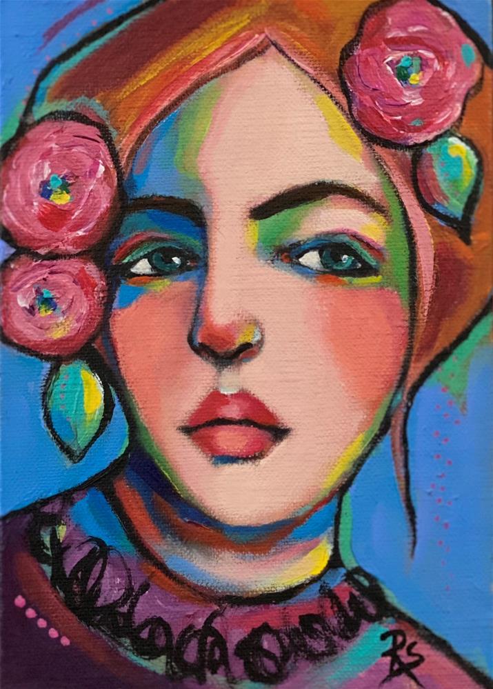 """The Rose Gatherer "" original fine art by Artcylucy Art by Roberta Schmidt"