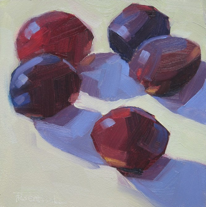 """Five Plums"" original fine art by Robin Rosenthal"