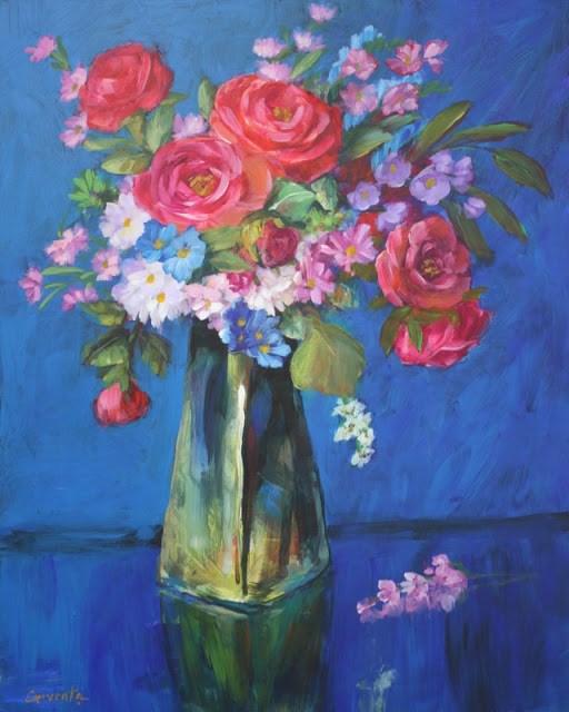 """""""Bon Temps, floral painting"""" original fine art by Sue Cervenka"""