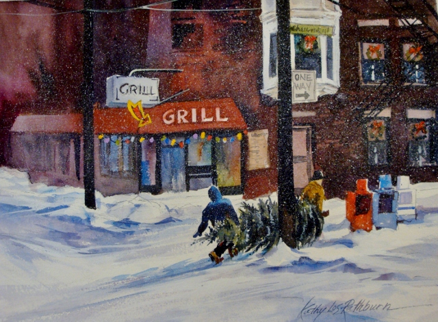 """Getting Your Tree in Chicago"" original fine art by Kathy Los-Rathburn"
