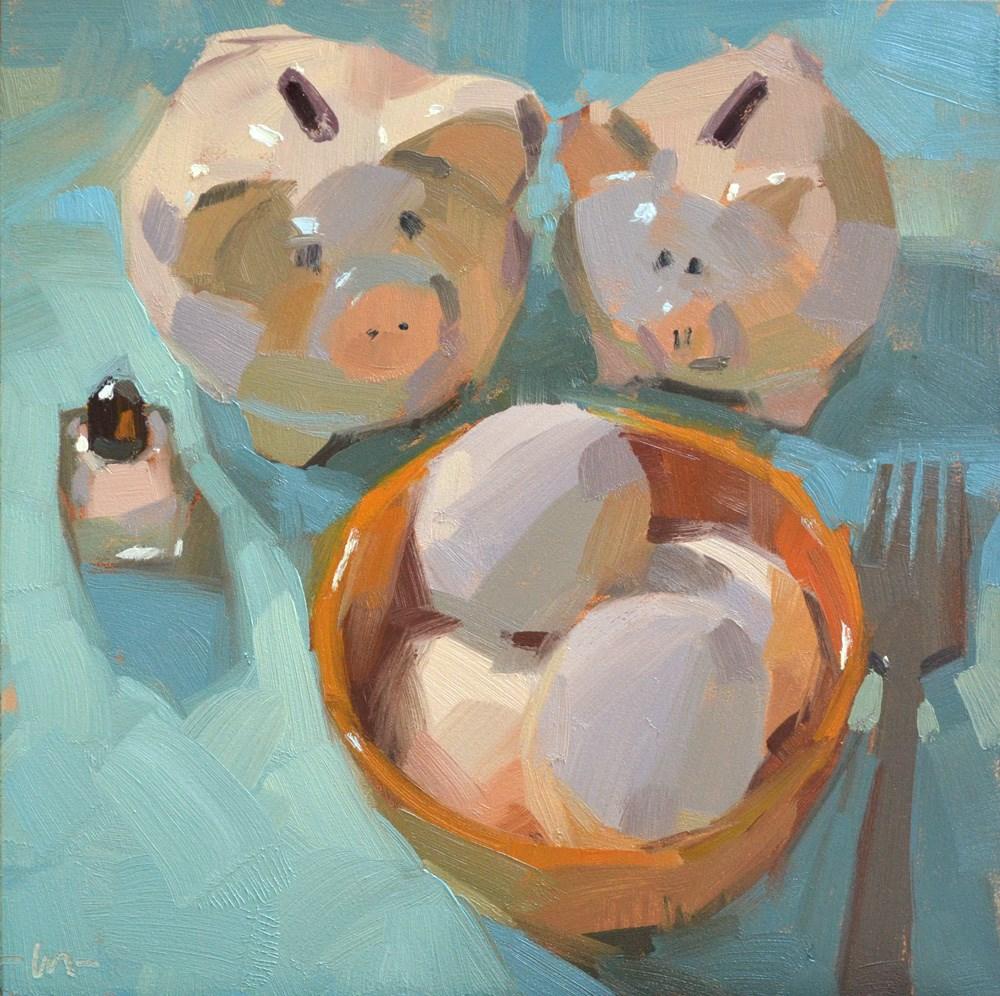 """Hungry, Hungry ... Pigs"" original fine art by Carol Marine"