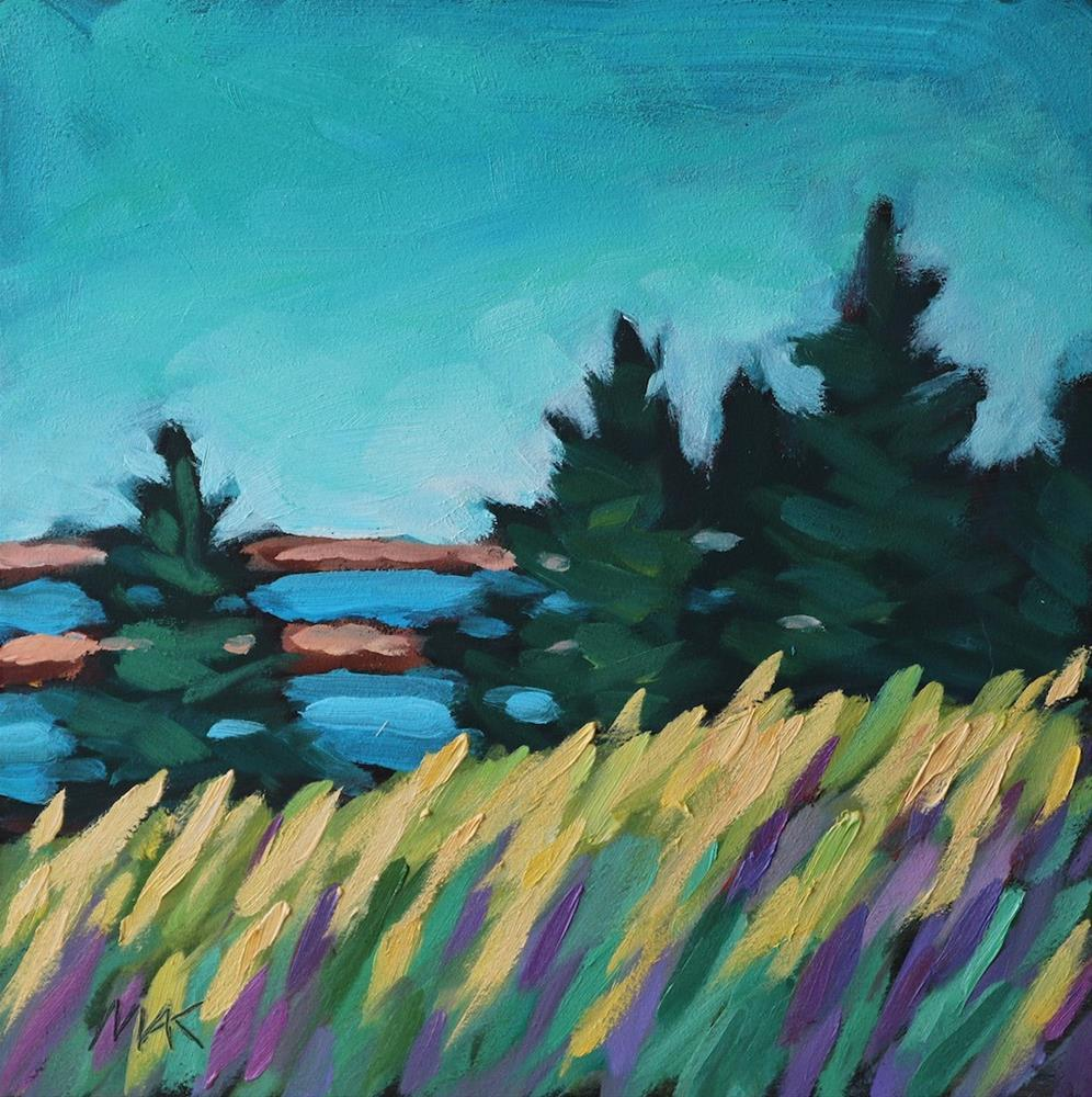 """""""Field and Water View"""" original fine art by Mary Anne Cary"""