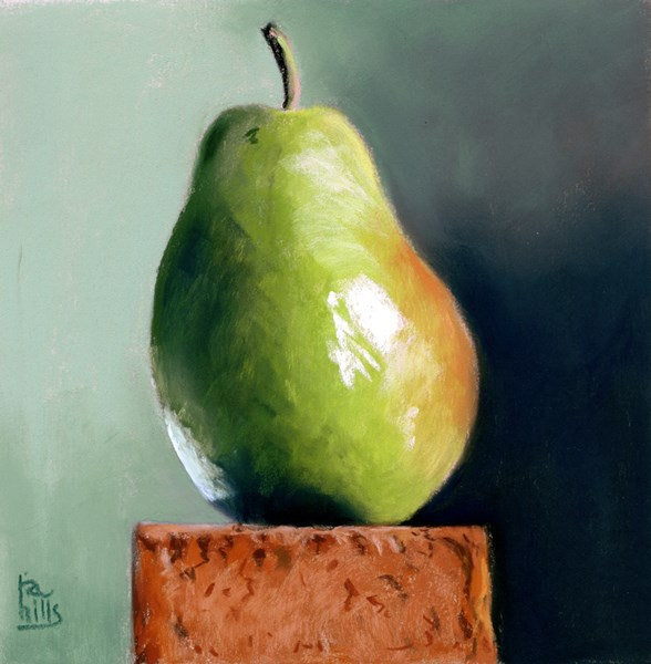 """""""Paired with a Brick painting of a pear"""" original fine art by Ria Hills"""