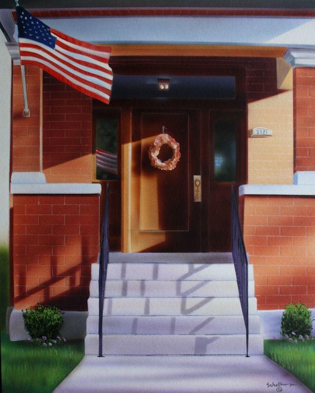 """Porch on Oak Street"" original fine art by Fred Schollmeyer"