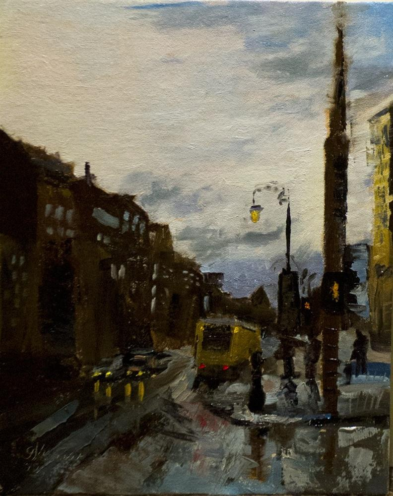 """Brussels, After the Rain Outside the Hotel"" original fine art by Garry Kravit"
