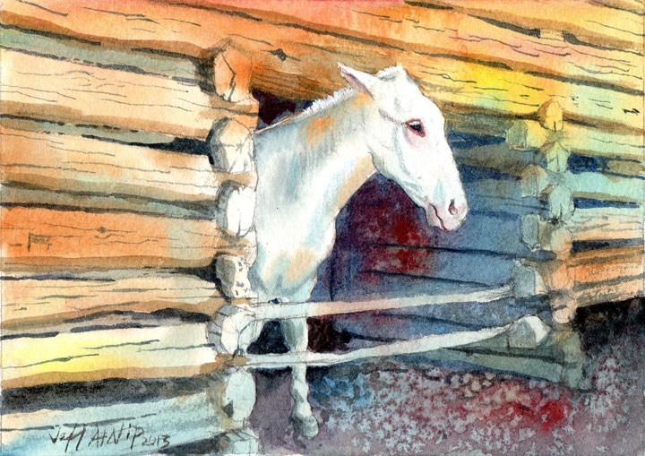 """The White Mule"" original fine art by Jeff Atnip"