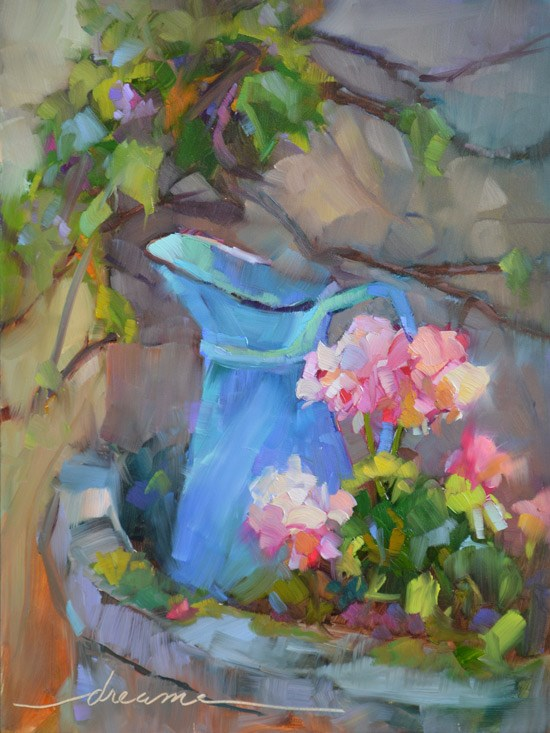 """""""A Perfectly French Pitcher and Who Are You Working For?"""" original fine art by Dreama Tolle Perry"""
