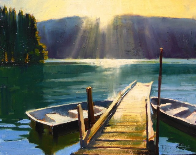 """""""Morning Breaks on Mountain Lake  8x10 ,plein air , oil painting by Robin Weiss"""" original fine art by Robin Weiss"""