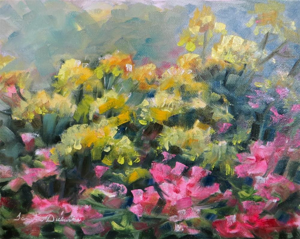 """Marigolds and Petunias"" original fine art by Tammie Dickerson"