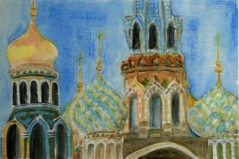 """Onion Domes"" original fine art by Jean Nelson"