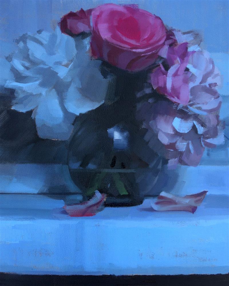 """Moonlit Flower Arrangement"" original fine art by Michael William"