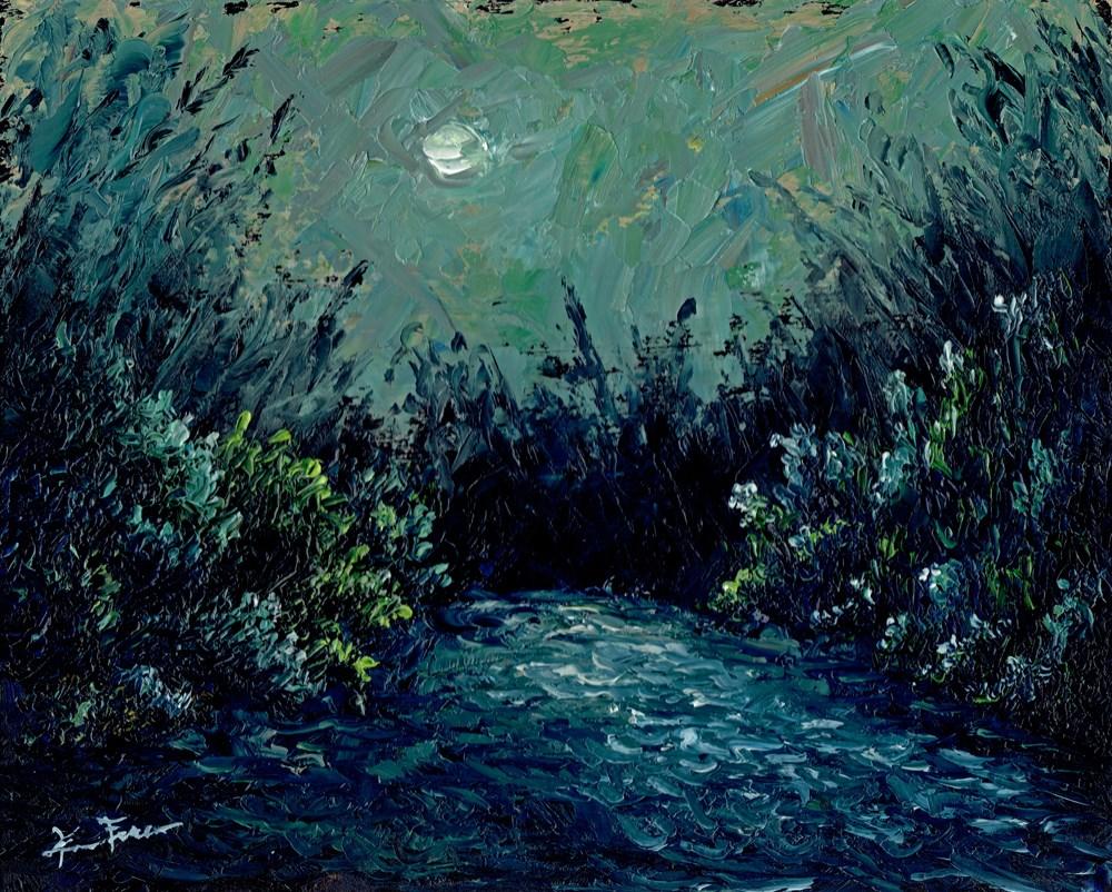 """""""Jade Moon Cove"""" original fine art by Ken Fraser"""