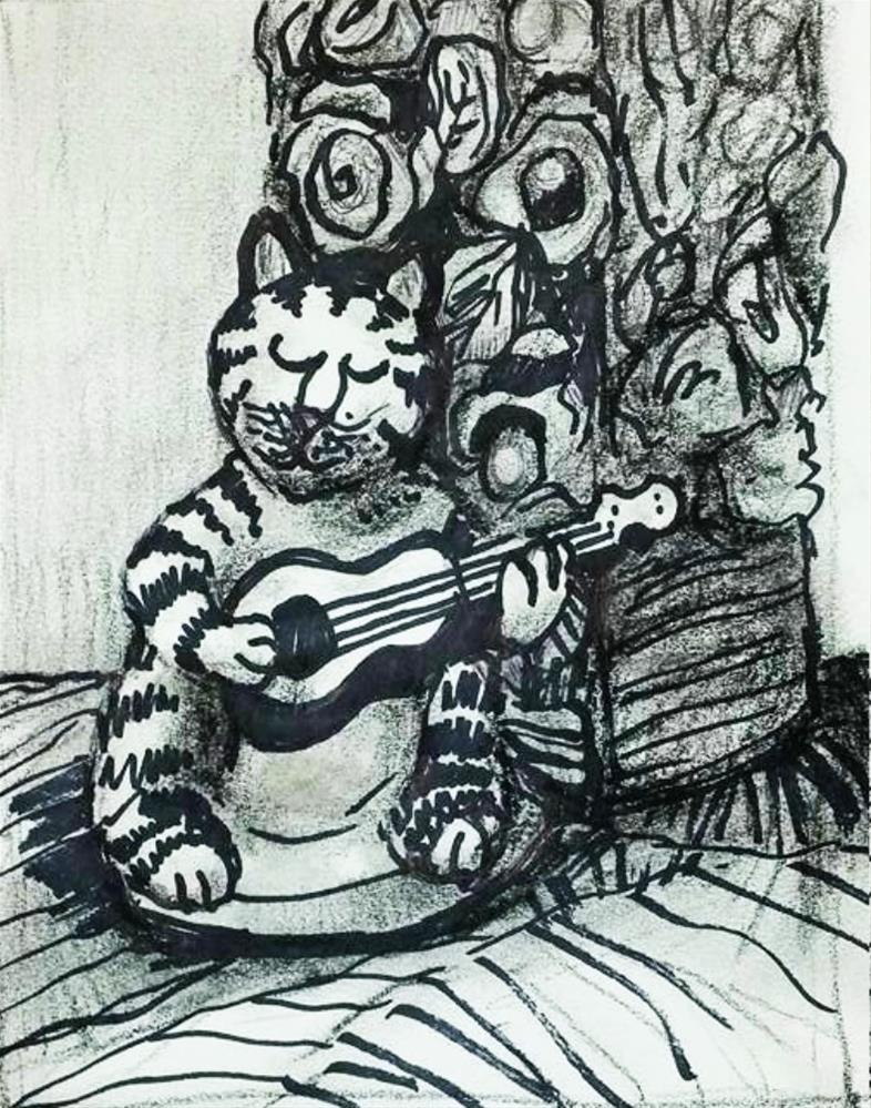 """""""Playing Cat and Vase"""" original fine art by Selby Minner"""