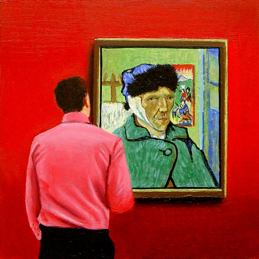 """Bandaged Ear- Painting Of Man Enjoying Self Portrait With Bandaged Ear By Vincent van Gogh"" original fine art by Gerard Boersma"