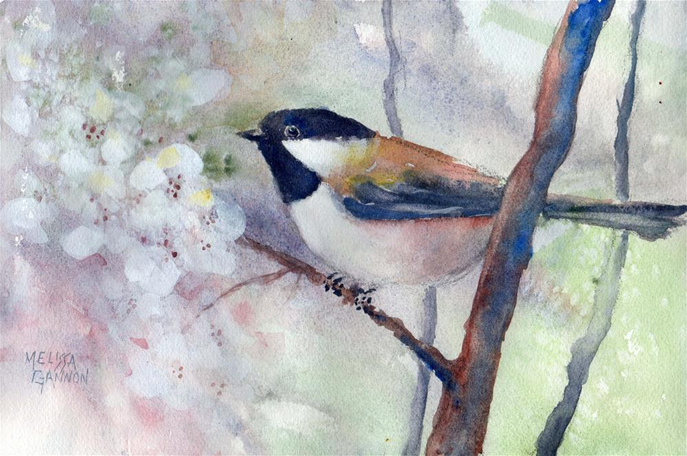 """Blossoms & Chickadees"" original fine art by Melissa Gannon"