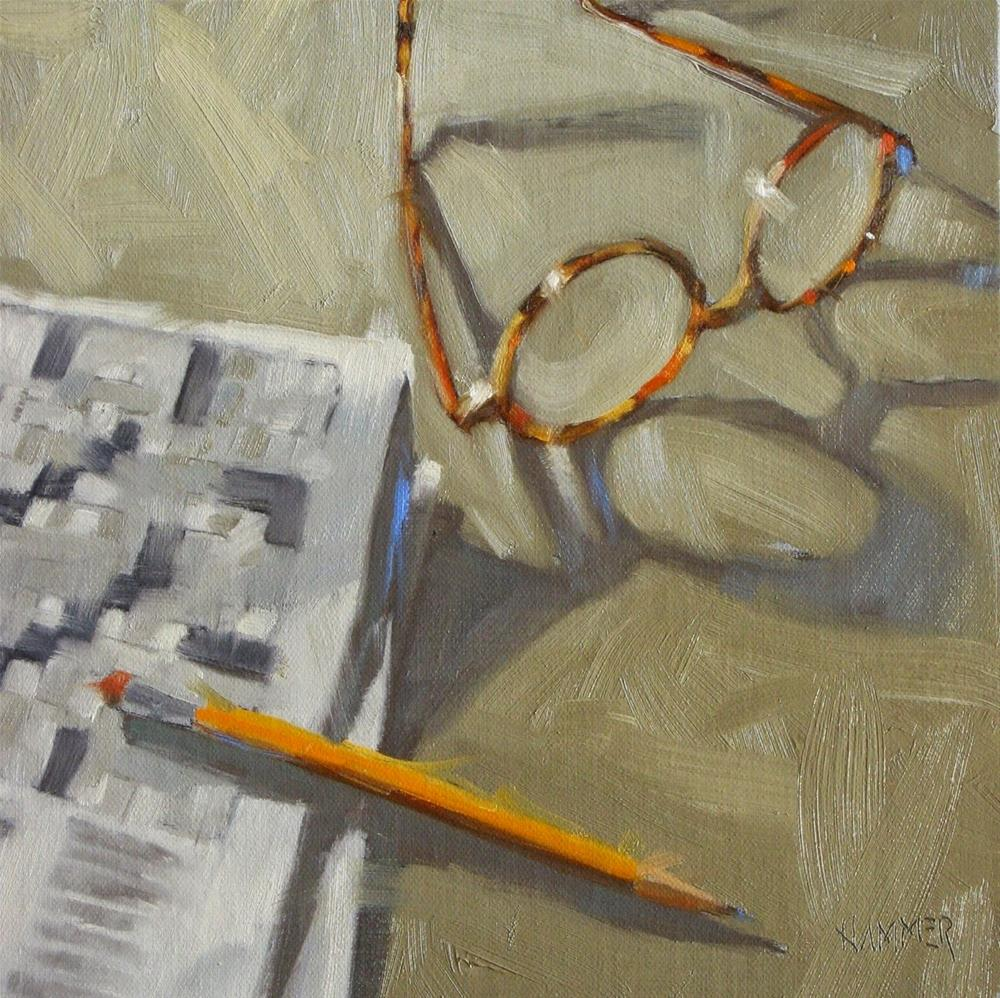 """Last part of a paint job, 7 letters  8 x 8  oil"" original fine art by Claudia Hammer"