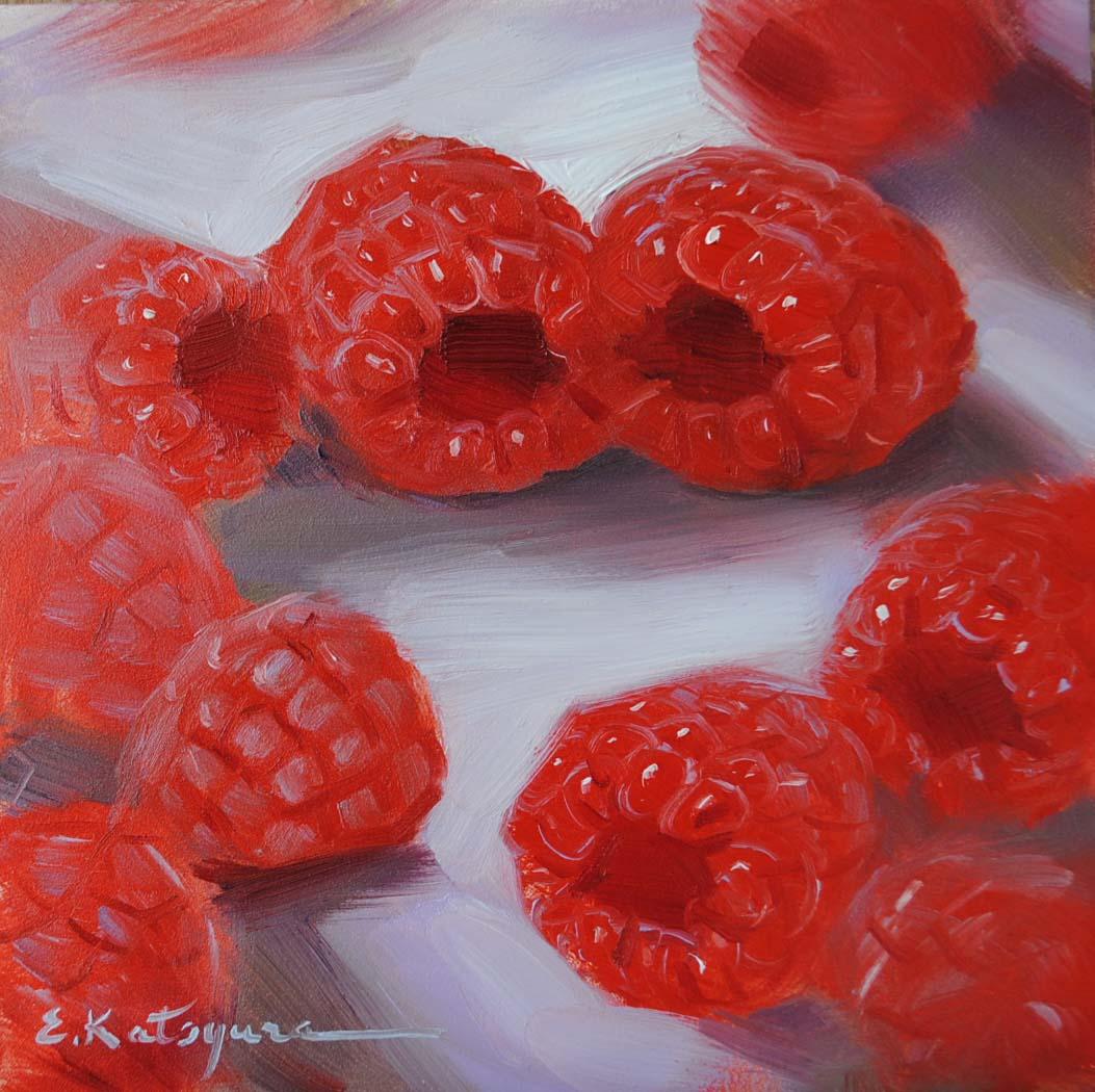 """Raspberries"" original fine art by Elena Katsyura"