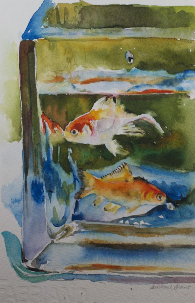 """Goldfish Friends"" original fine art by Sue Churchgrant"
