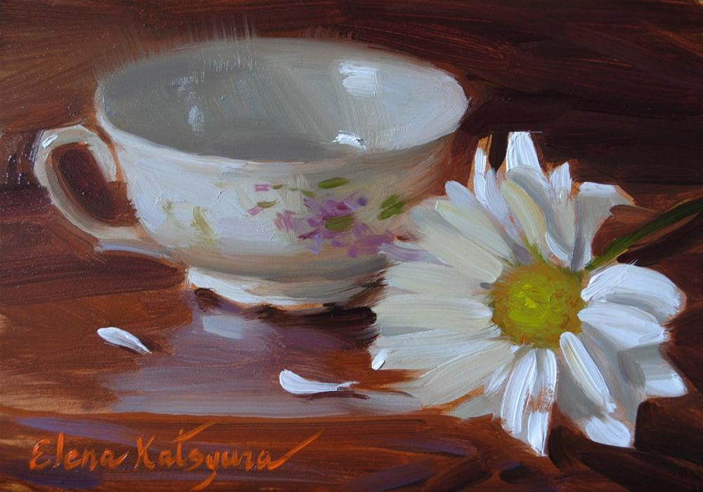 """Teacup and Daisy"" original fine art by Elena Katsyura"